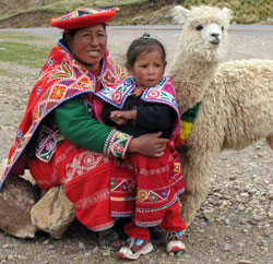 Peru Indigenous woman and child with Llama