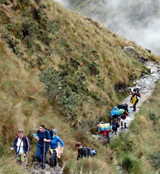People trekking in Peru
